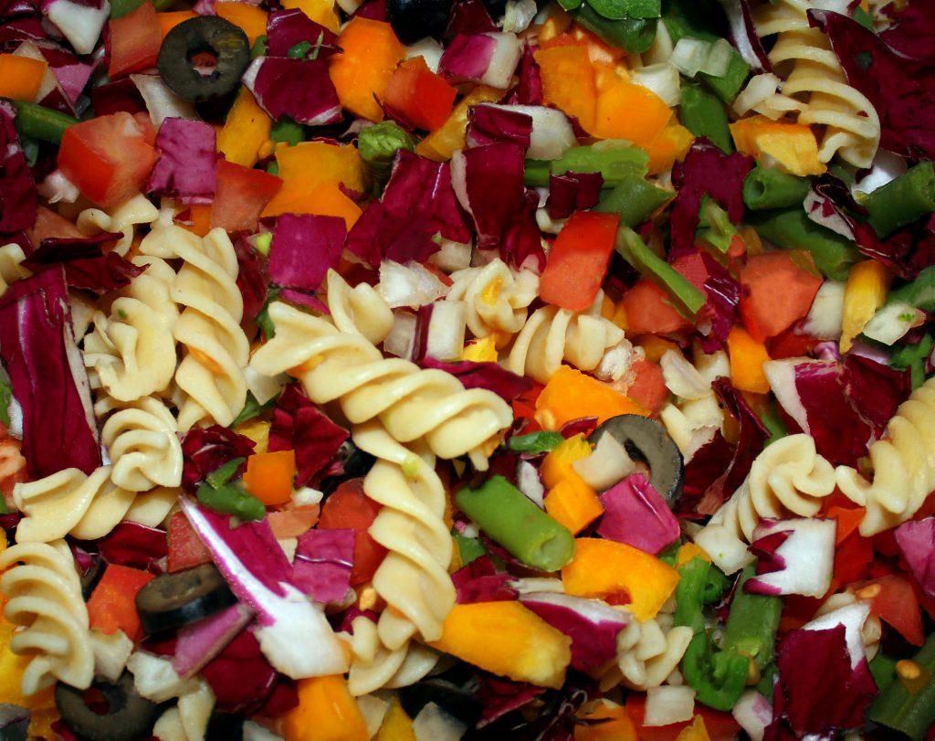 Rainbow pasta salad in closeup