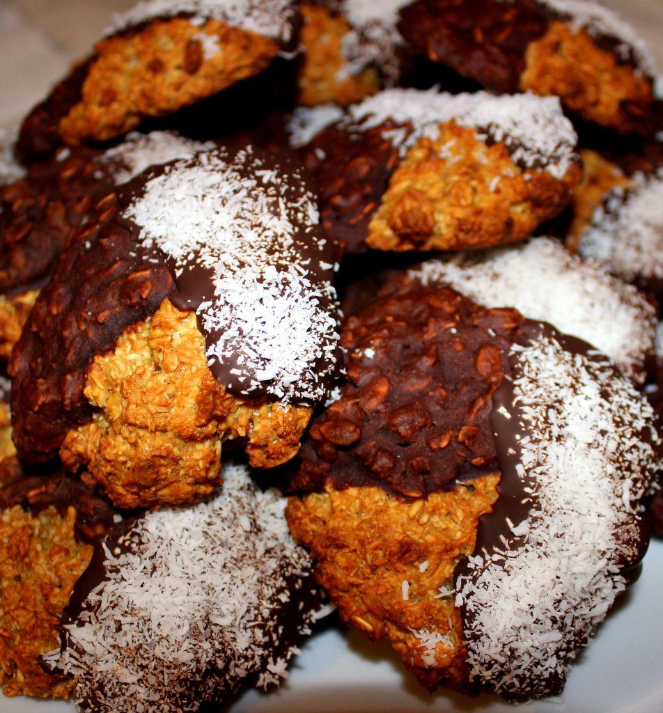 Vegan chocolate coconut cookies in closeup