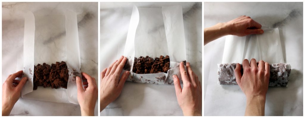 Visual illustration on how to wrap the chocolate salami