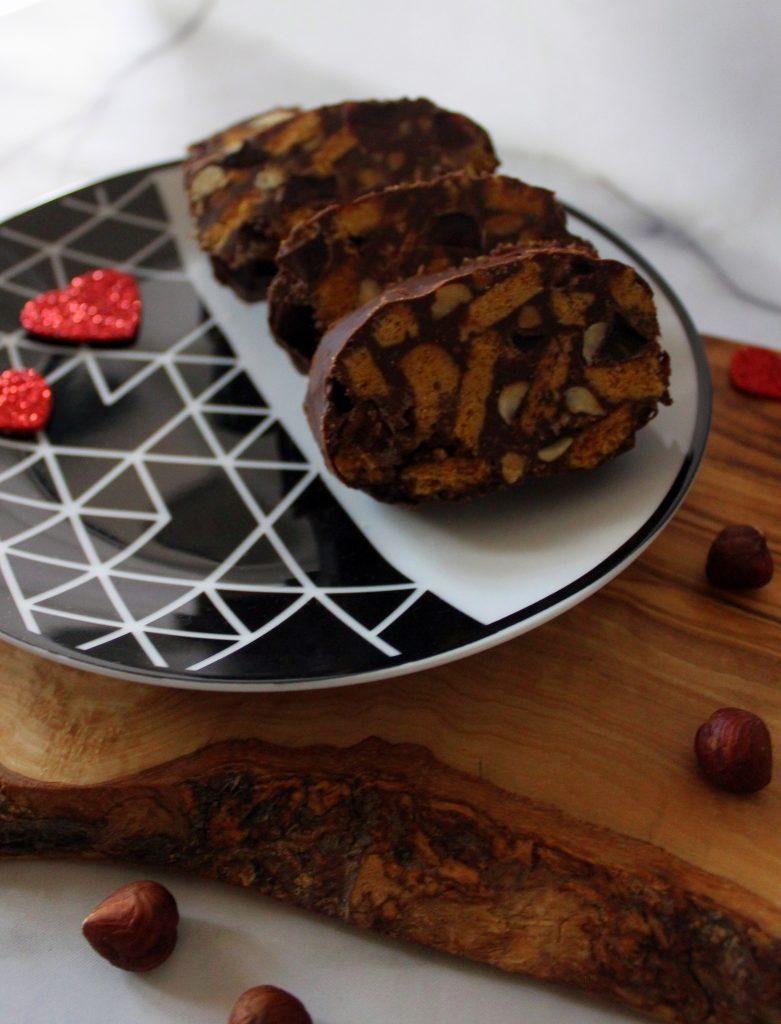 Three slices of chocolate salami