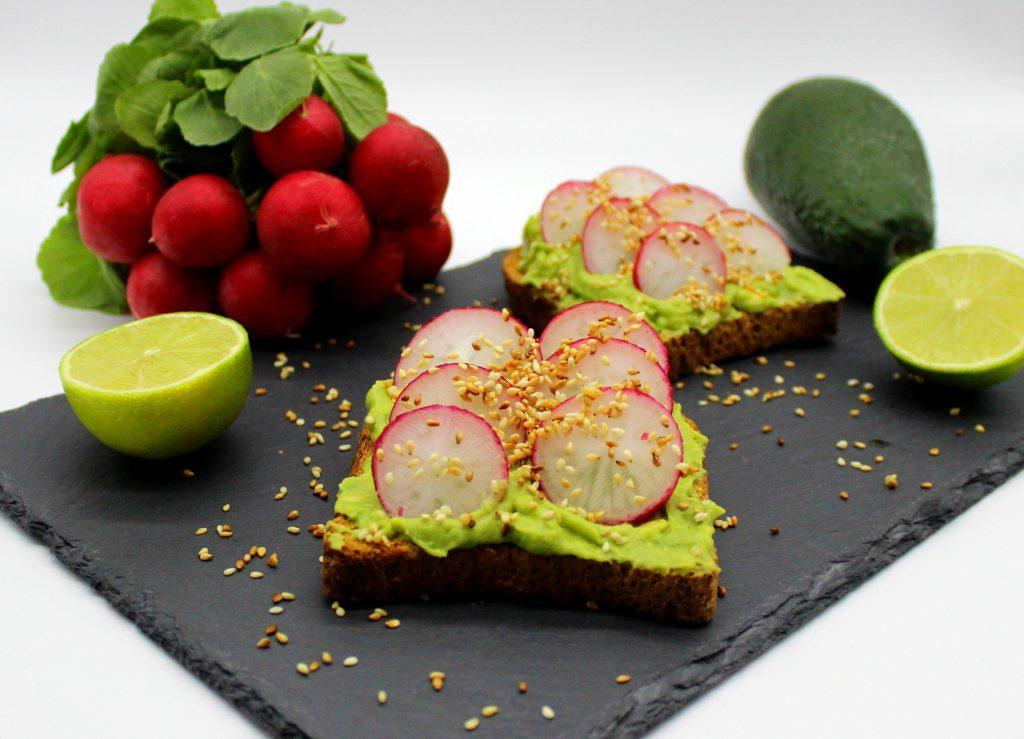 Avocado toast with fresh radishes