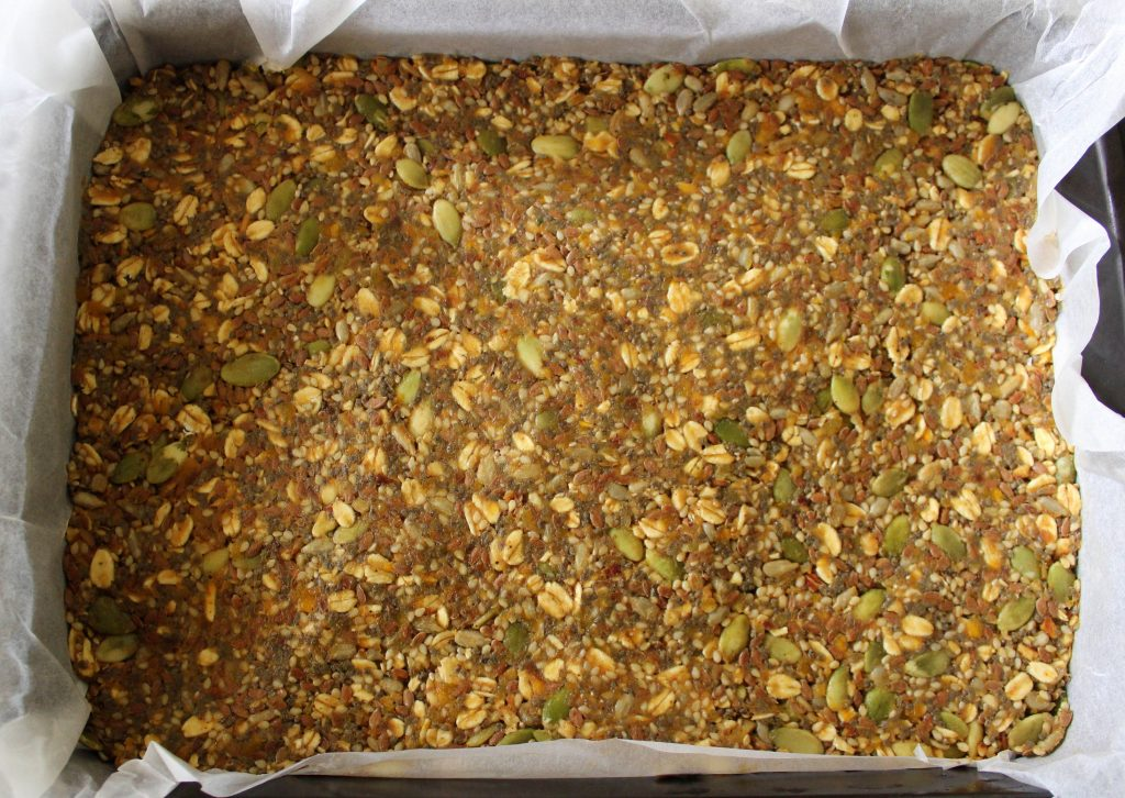 Mixture for healthy vegan no-bake protein bars before cooling