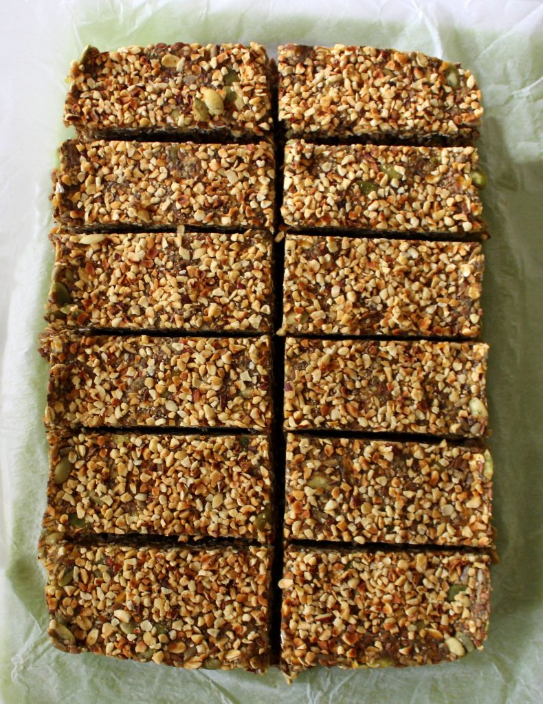 Mixture for healthy vegan no-bake protein bars cut in bars