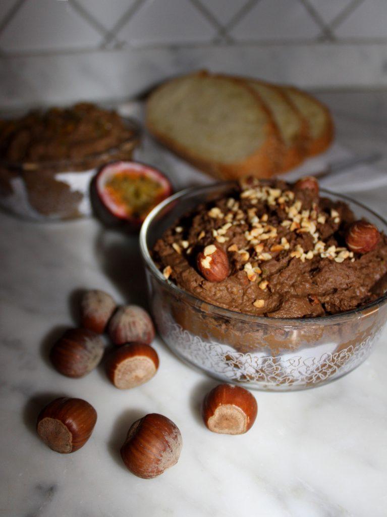Homemade vegan Nutella with hazelnuts