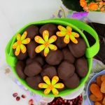 Fruit-filled vegan chocolate Easter eggs or Vegan chocolate candies