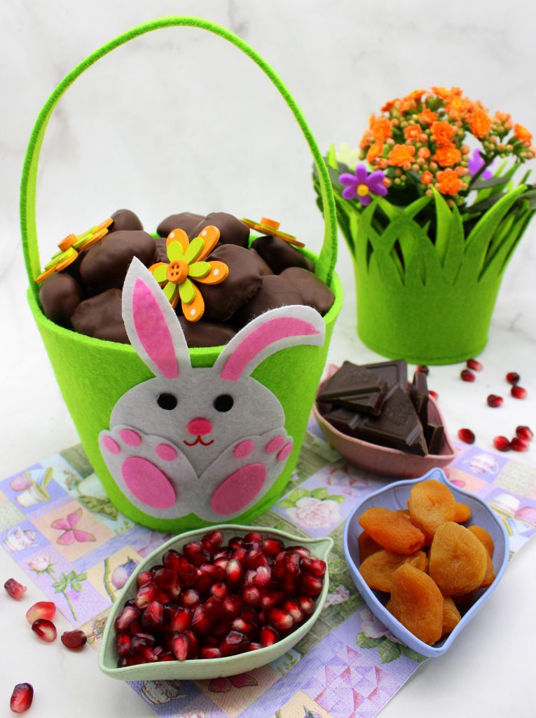 Fruit-filled vegan chocolate Easter eggs