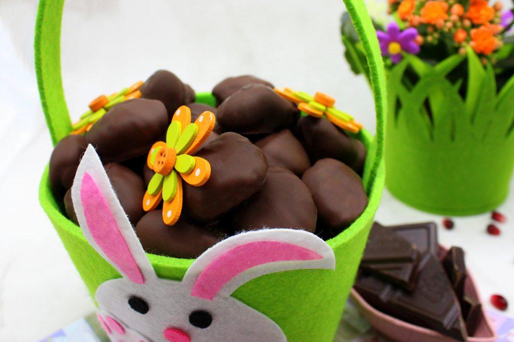 Vegan chocolate candies in close-up