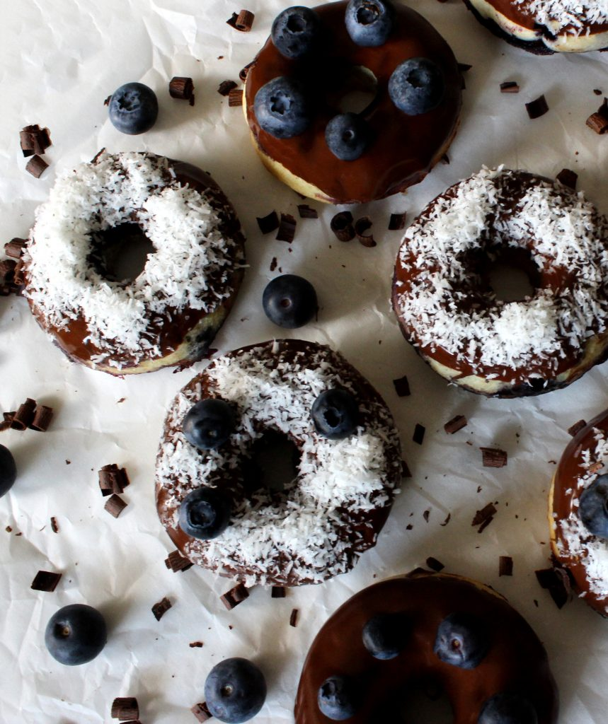 Coconut blueberry donuts