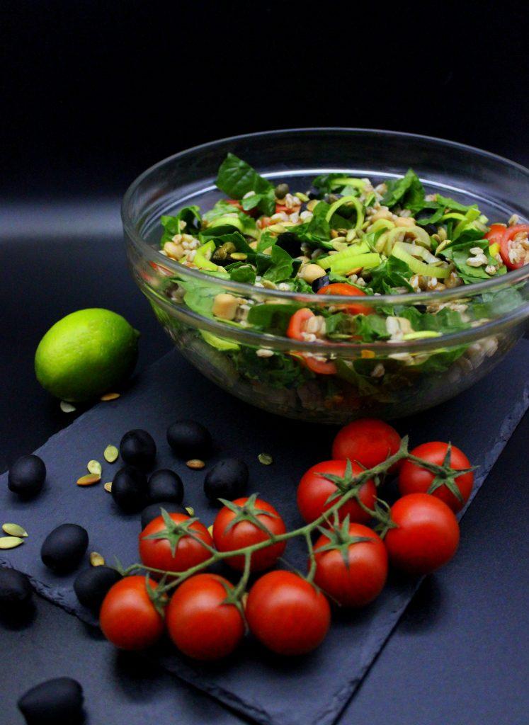 Big bowl of fresh and healthy farro salad