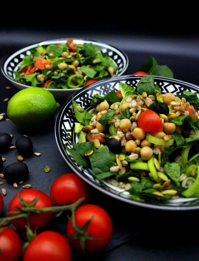 Farro salad in close-up