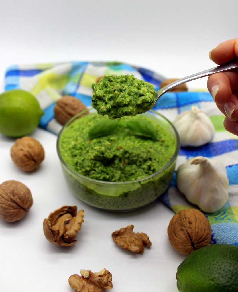 A spoonful of vegan spinach pesto