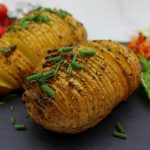 Crispy garlic Hasselback potatoes with Spicy roasted bell pepper dip
