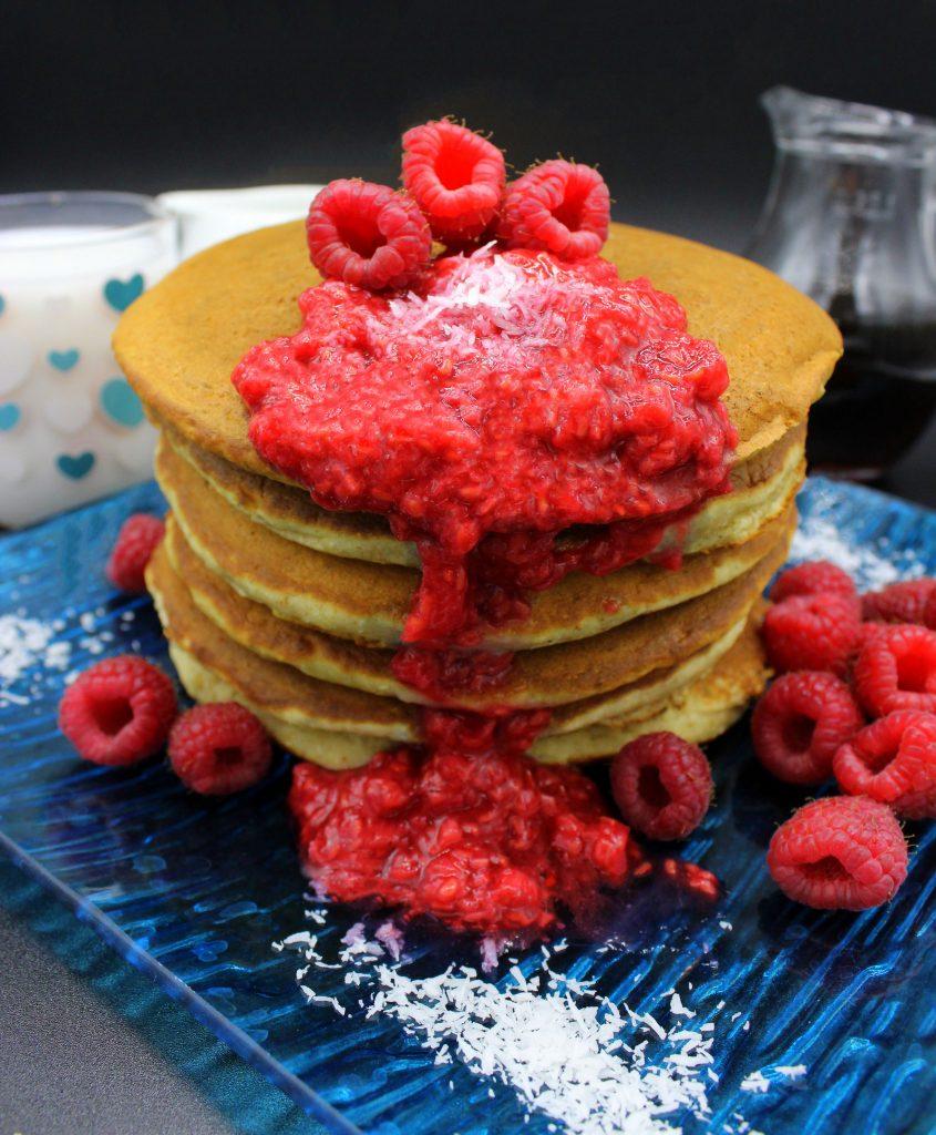 Vegan pancakes with mashed raspberries