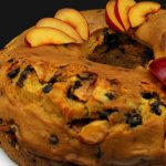 Vegan bundt cake with plums and chocolate chips