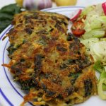 Potato and spinach vegan pancakes