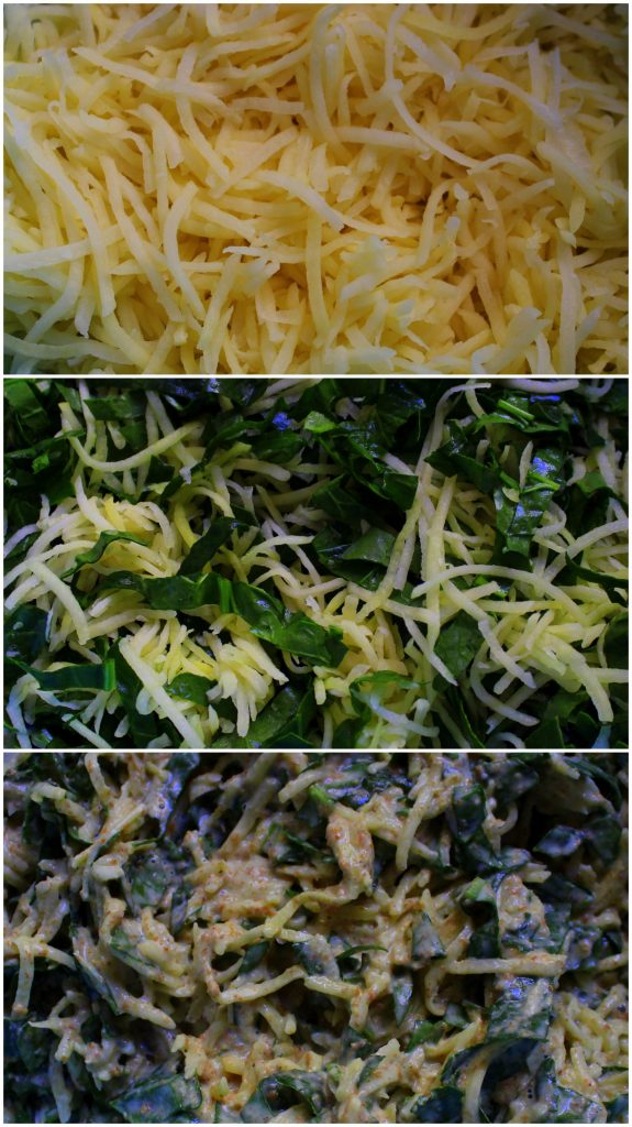 Collage of steps how to prepare potato and spinach vegan pancakes