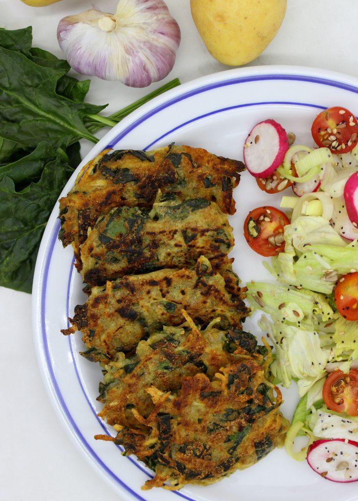 Potato and spinach vegan pancakes