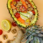 Refreshing quinoa salad with pineapple and ginger