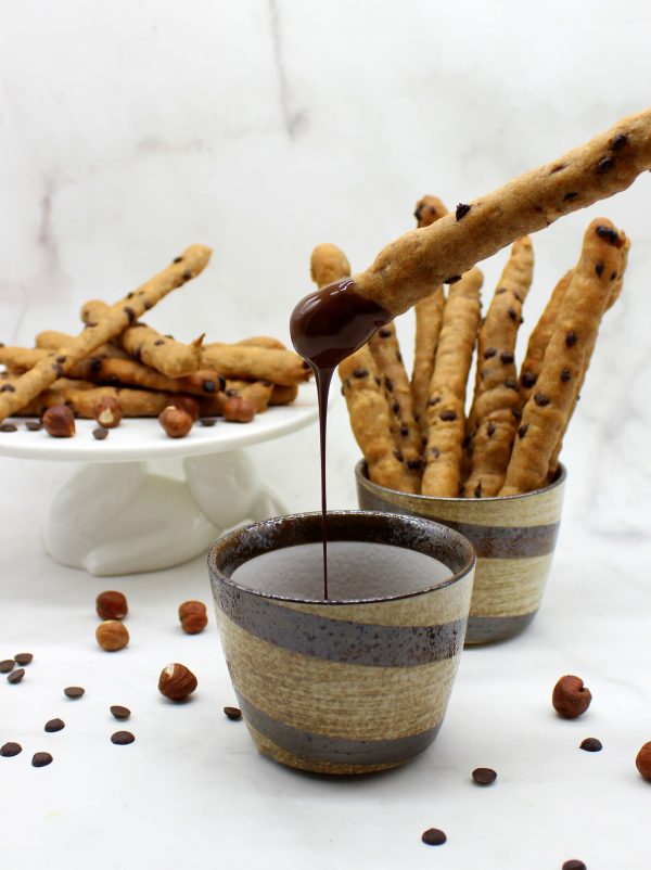 Cookie sticks dipped in chocolate