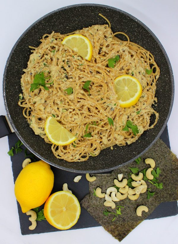 Vegan lemon garlic pasta