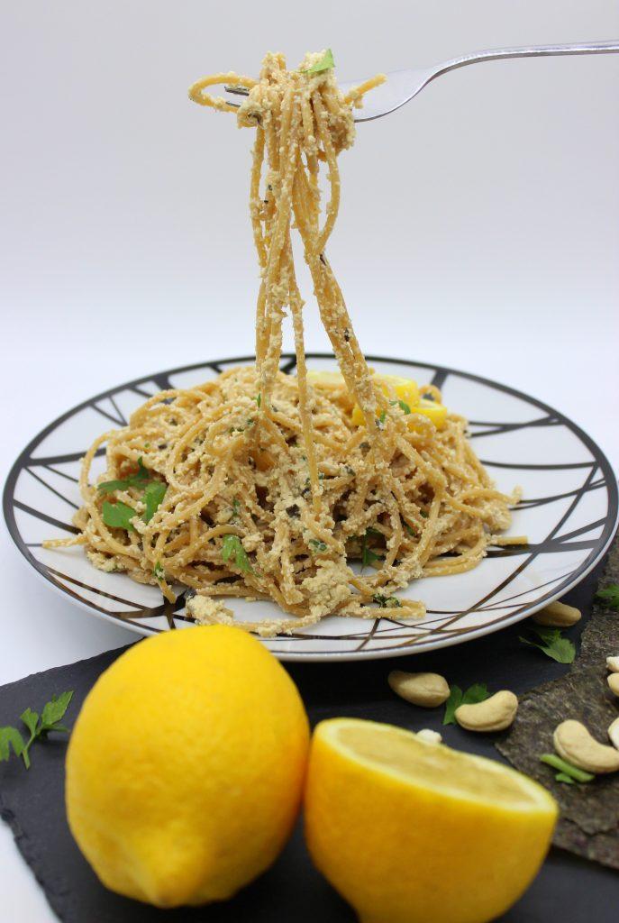 Vegan lemon garlic pasta on a plate