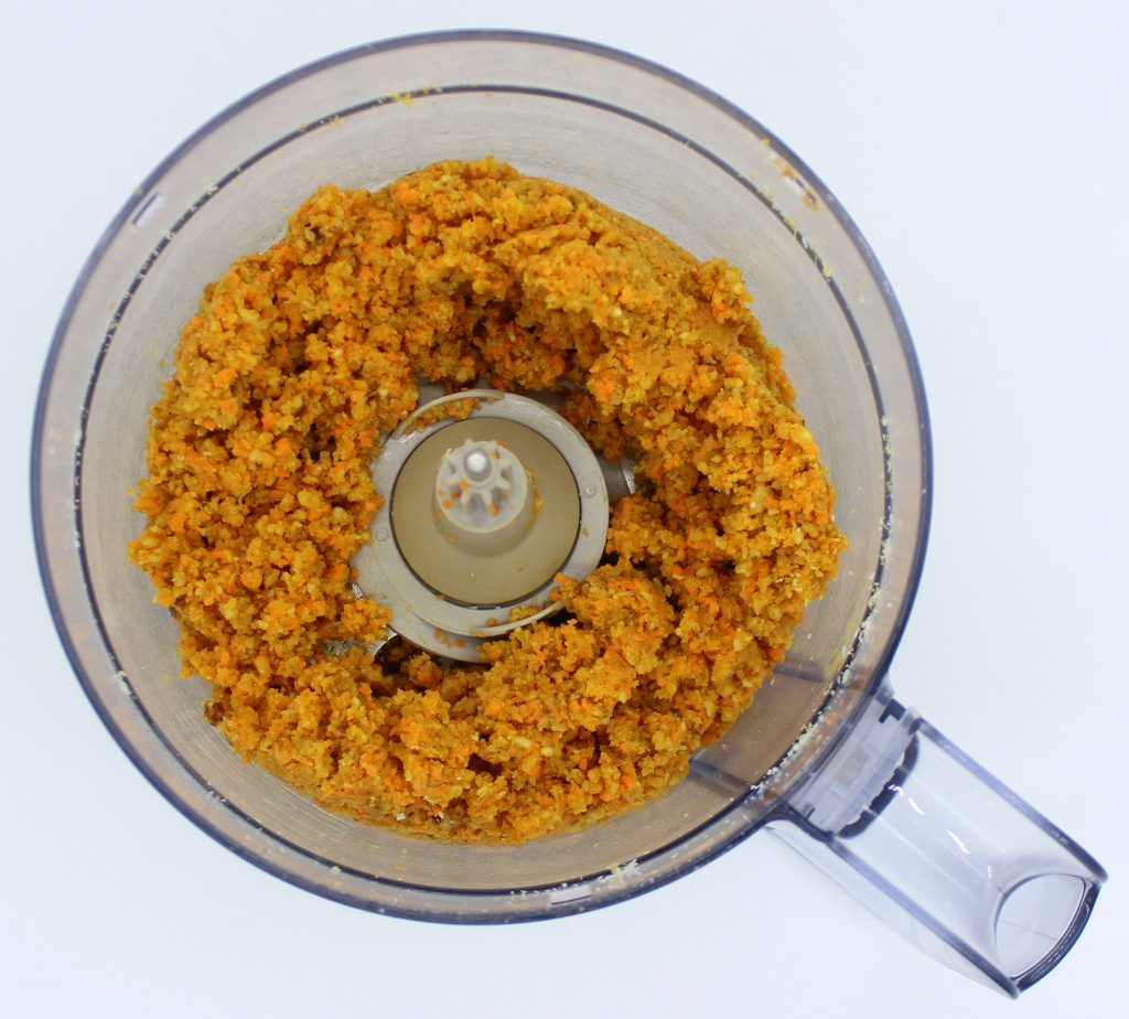 Carrot ball mixture in food processor