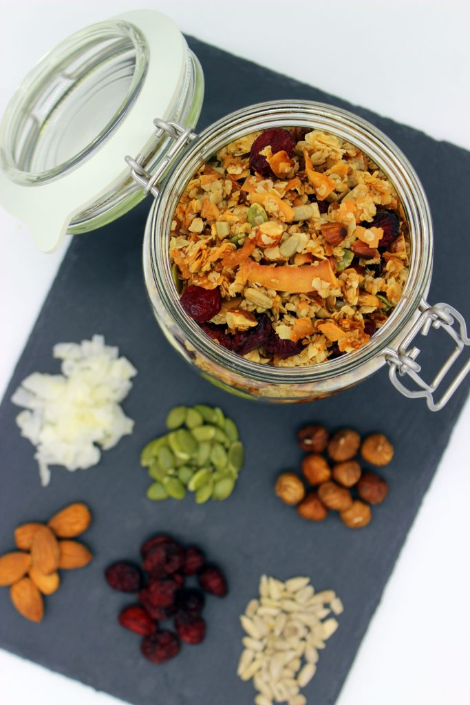 Healthy vegan granola with coconut and cranberries