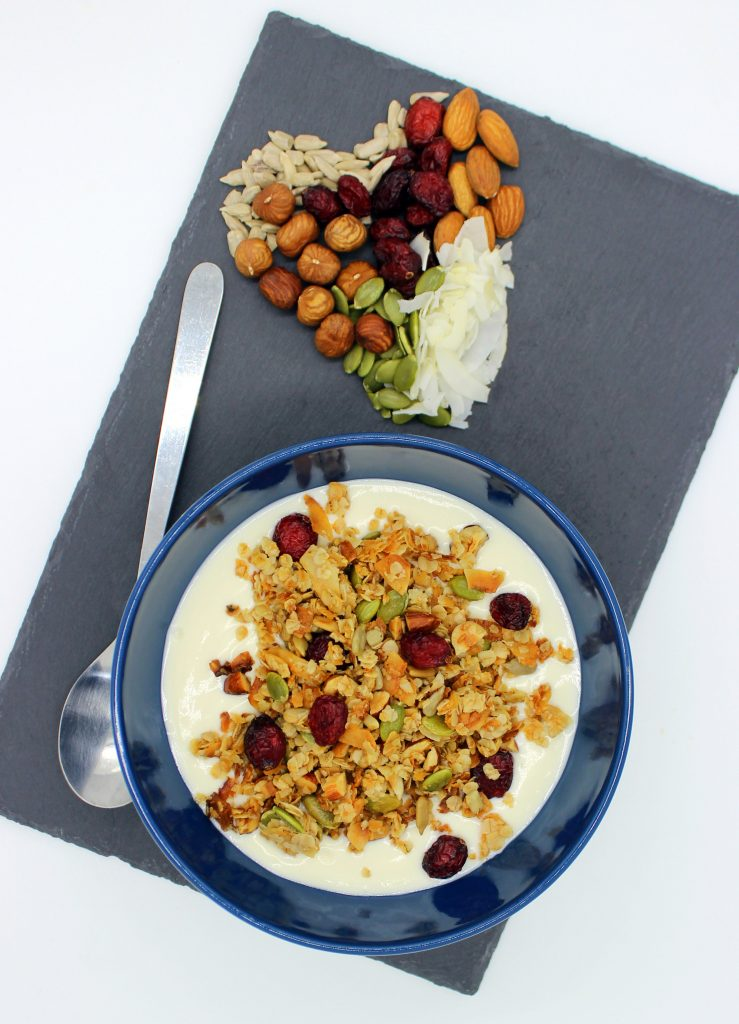Vegan granola with coconut yoghurt