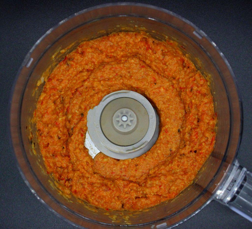 Freshly prepared bell pepper hummus
