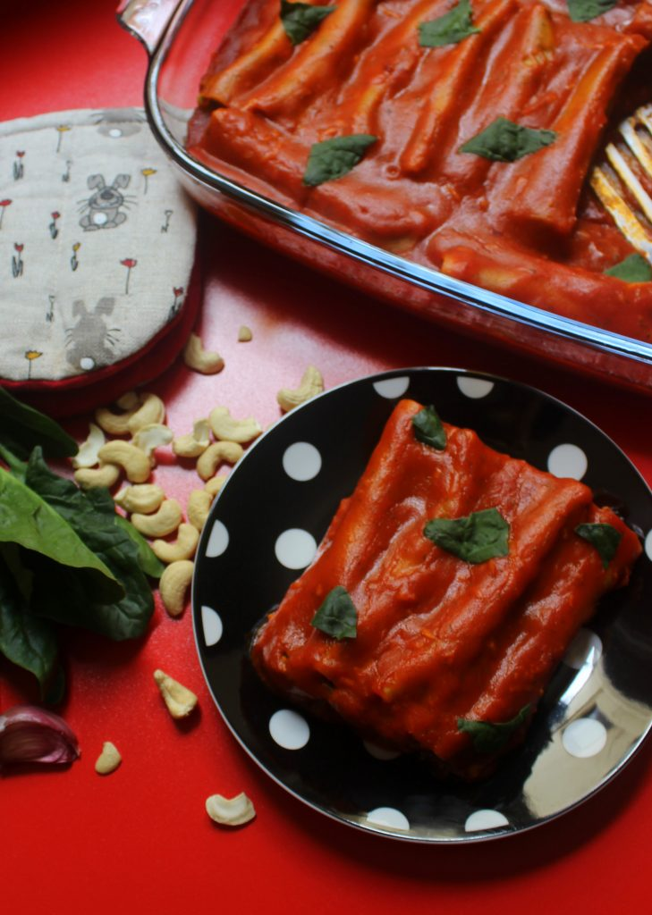 A plate of easy vegan cannelloni with roasted bell peppers
