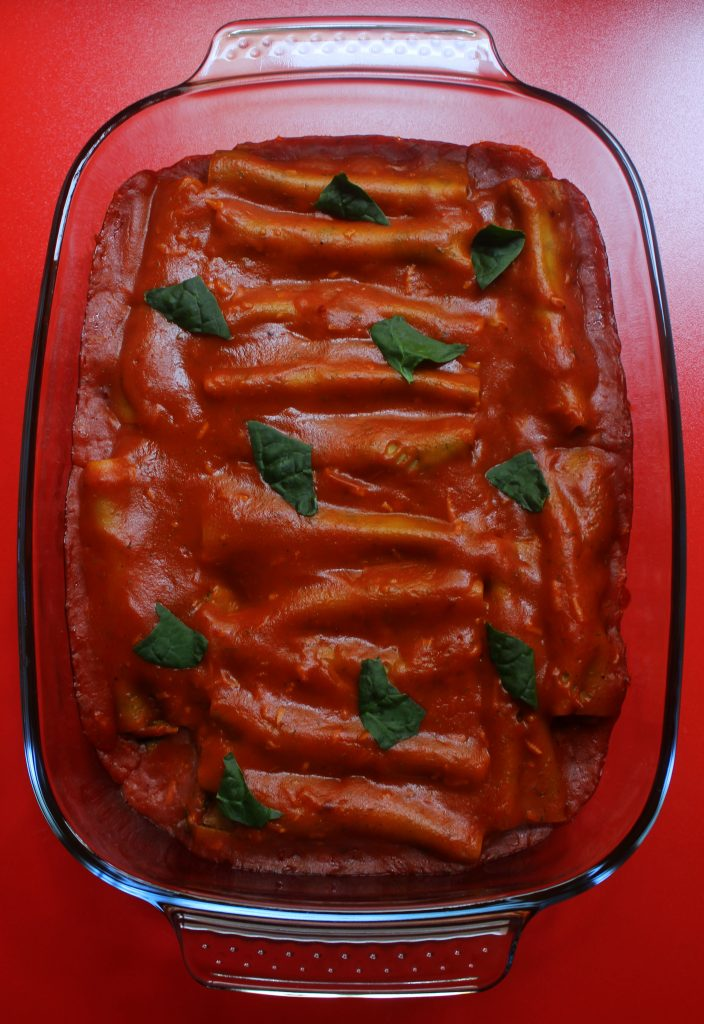 Baking dish with vegan cannelloni