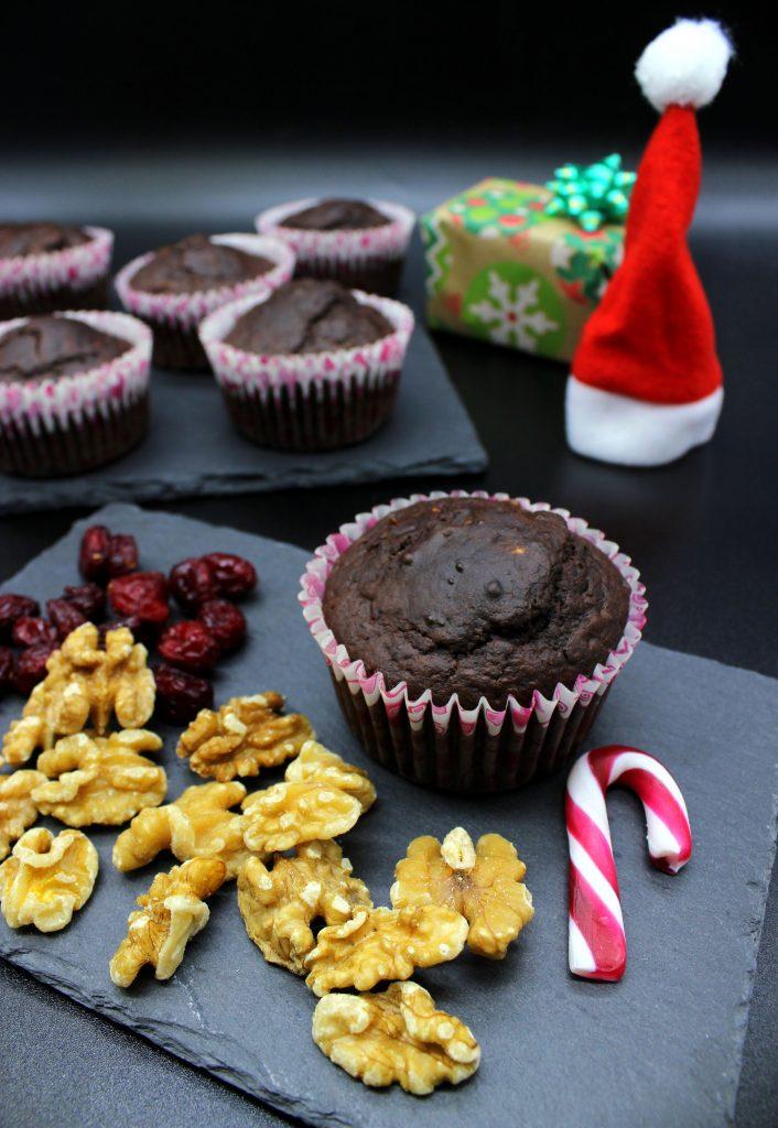 Vegan cranberry and walnut muffins