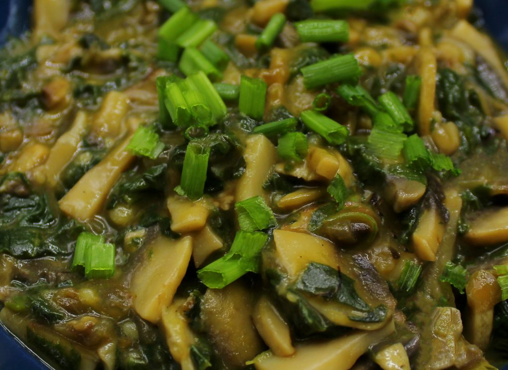 Mushroom gravy in close-up