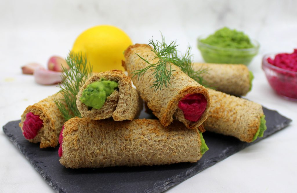 Beetroot and spinach hummus rolls