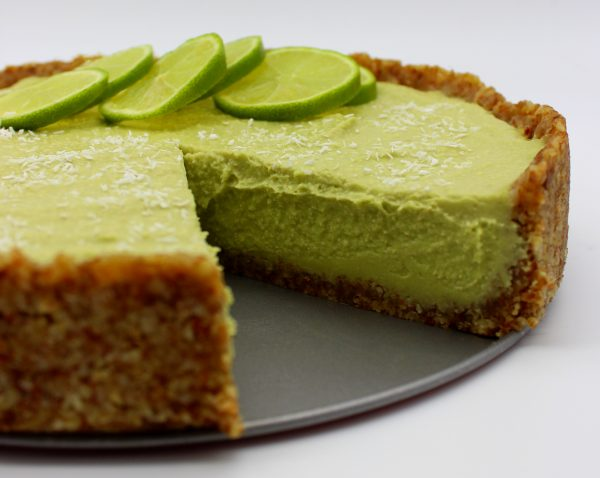 Creamy vegan lime and avocado cheesecake