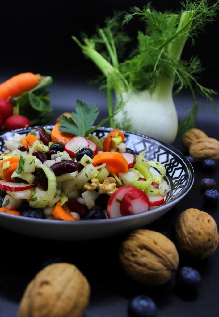Healthy fennel protein salad
