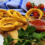 Healthy oven-baked vegan onion rings