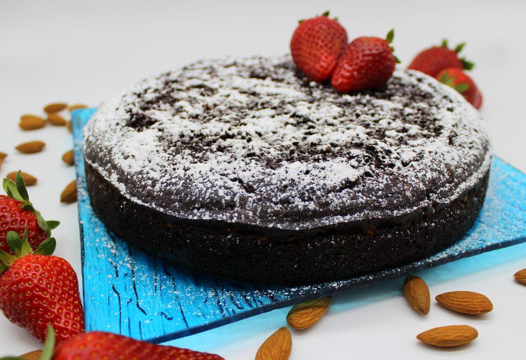 Easy vegan chocolate almond cake