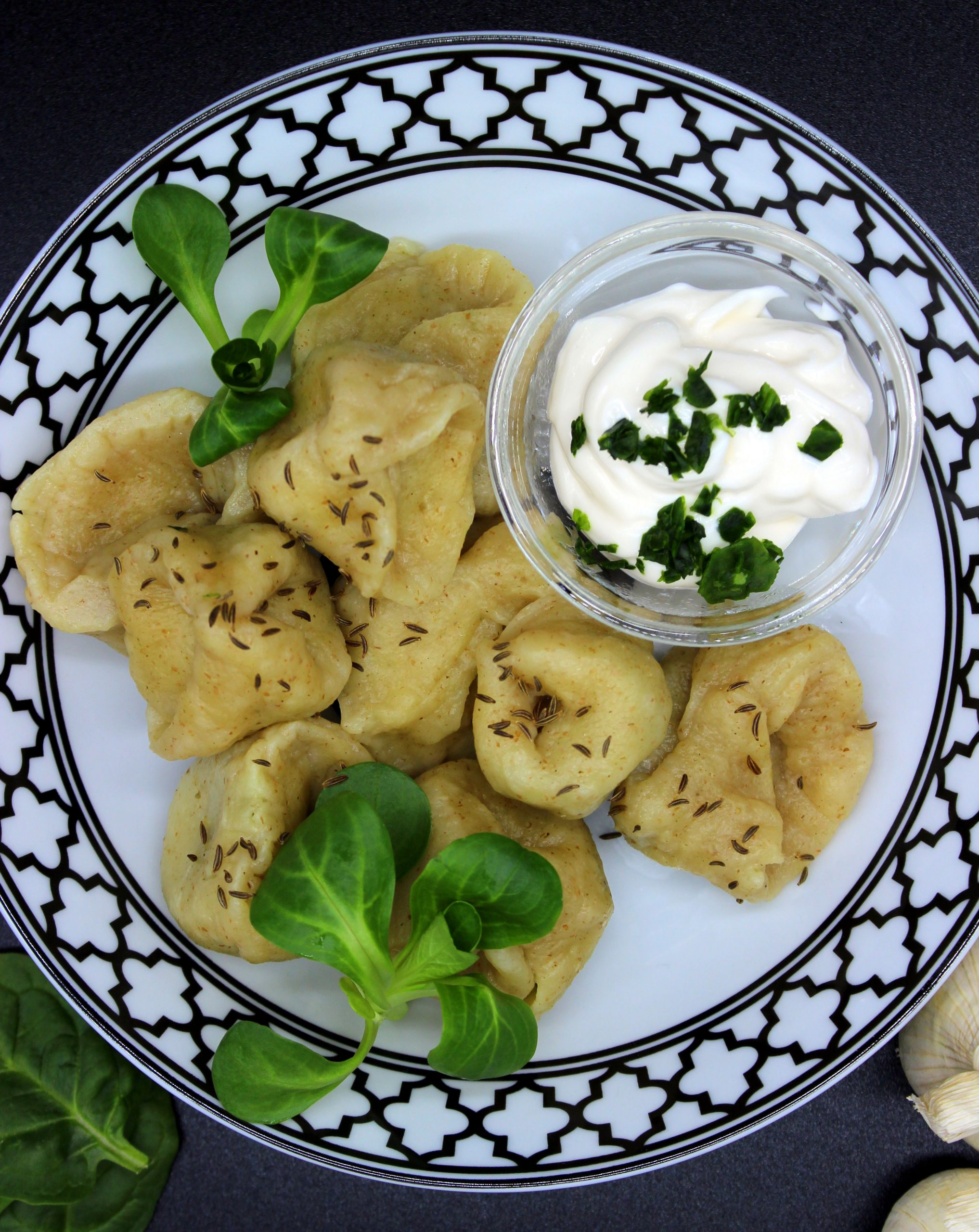 Vegan Russian dumplings with spinach and mushrooms