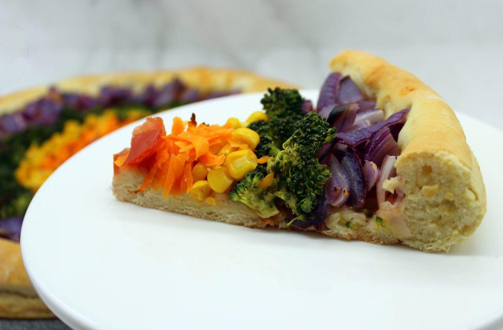 Easy vegan rainbow pizza