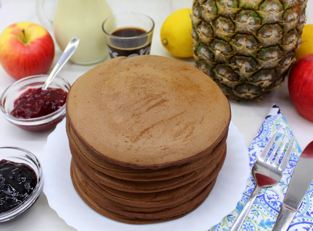 Vegan chocolate and pineapple pancakes