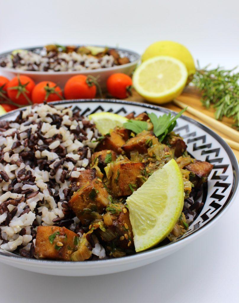 Tofu citrona mērcē ar rīsiem